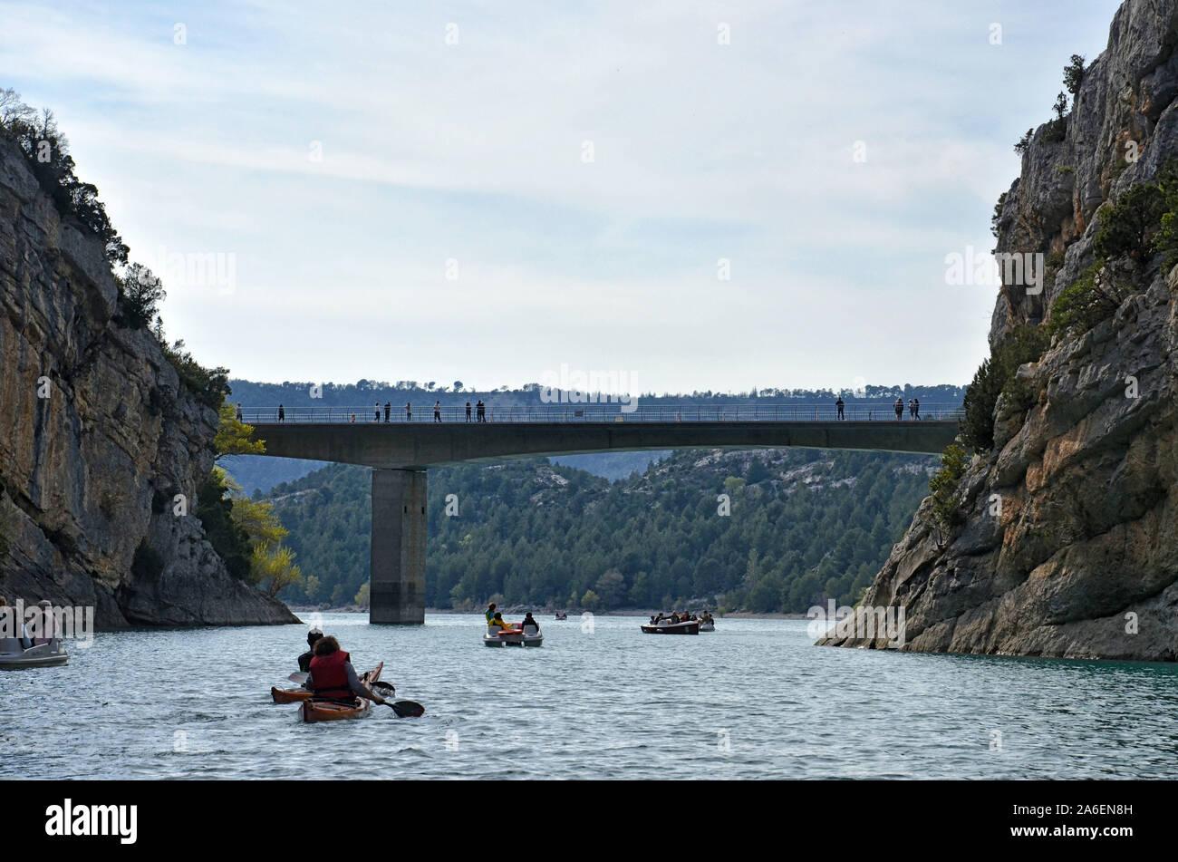 Bridge of Galetas over river Verdon and lake of Sainte Croix. Alpes de Hautes Provence France Stock Photo