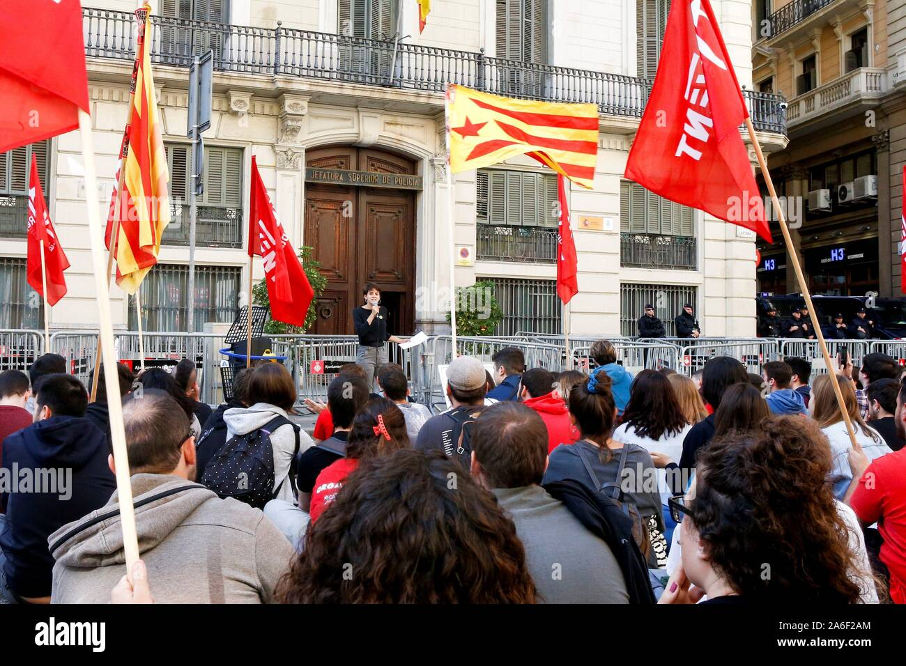 Barcelona, Spain. 26th Oct, 2019. Catalan pro-independent party ERC's Youth Movement activists protest outside Spanish National Police headquarters in Barcelona, Catalonia, northeastern Spain, 26 October 2019. Credit: Quique Garcia/EFE/Alamy Live News Stock Photo