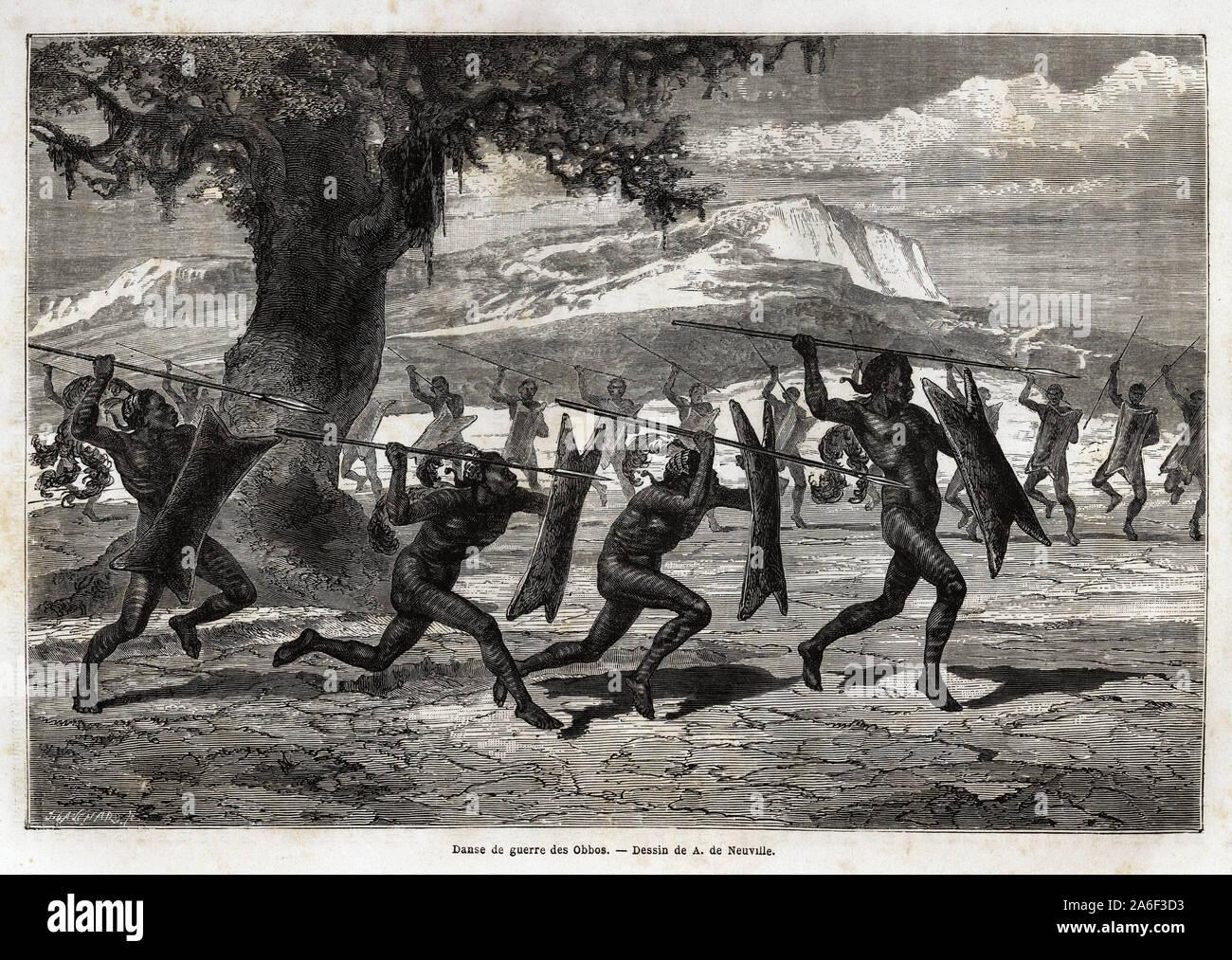 Les Obbos ( tribu de l'Ouganda )executant une danse de guerre. Gravure pour illustrer le voyage au lac Albert, en 1861-1864, de Sir Samuel White Baker Stock Photo