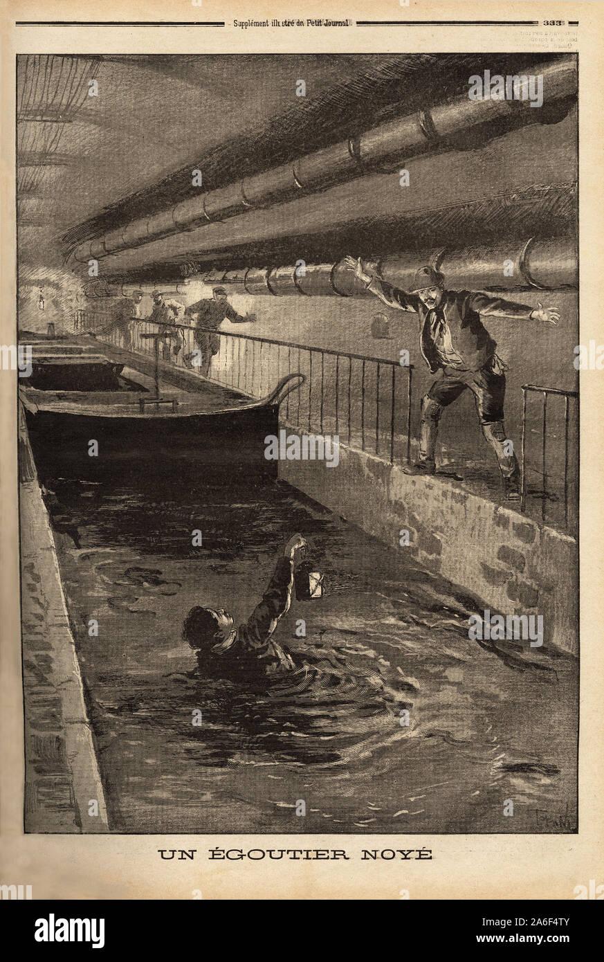 """Un egoutier de Paris se noie en nettoyant une derivation fangeuse. Gravure in """"Le petit journal"""" 15/9/1899. Stock Photo"""