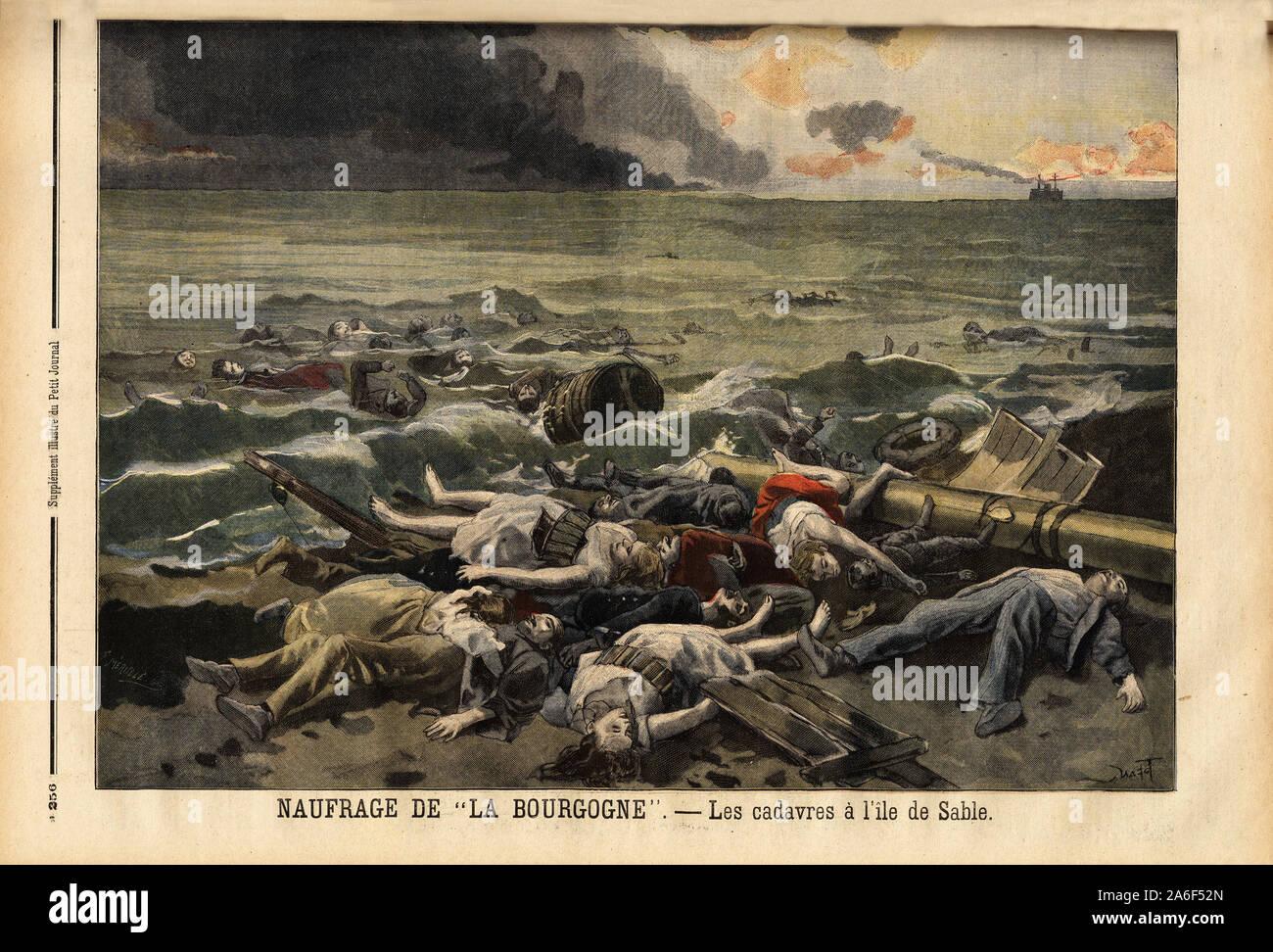 """Amoncellement des cadavres des naufrages du navire La bourgogne, sur l'ile de sable, au nord ouest d'Halifax. Gravure in """"Le petit journal"""" 7/8/1898. Stock Photo"""