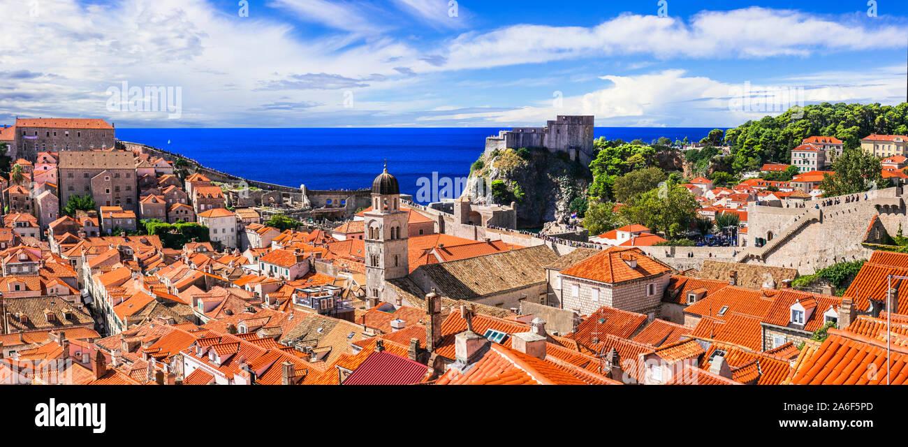 Travel and landmarks of Croatia - beautiful historic Dubrovnik town in Dalmatia, popular tourist and cruise destination Stock Photo