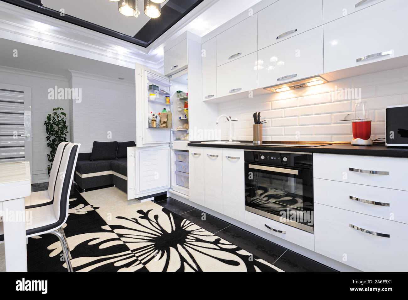 Luxury Modern Black And White Kitchen Interior Stock Photo Alamy