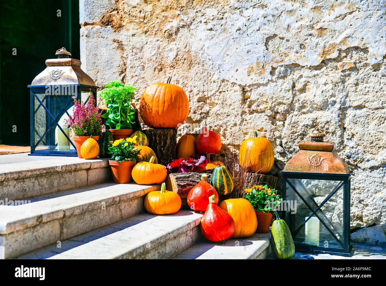 autumn still life and street decoration with pumpkins Stock Photo