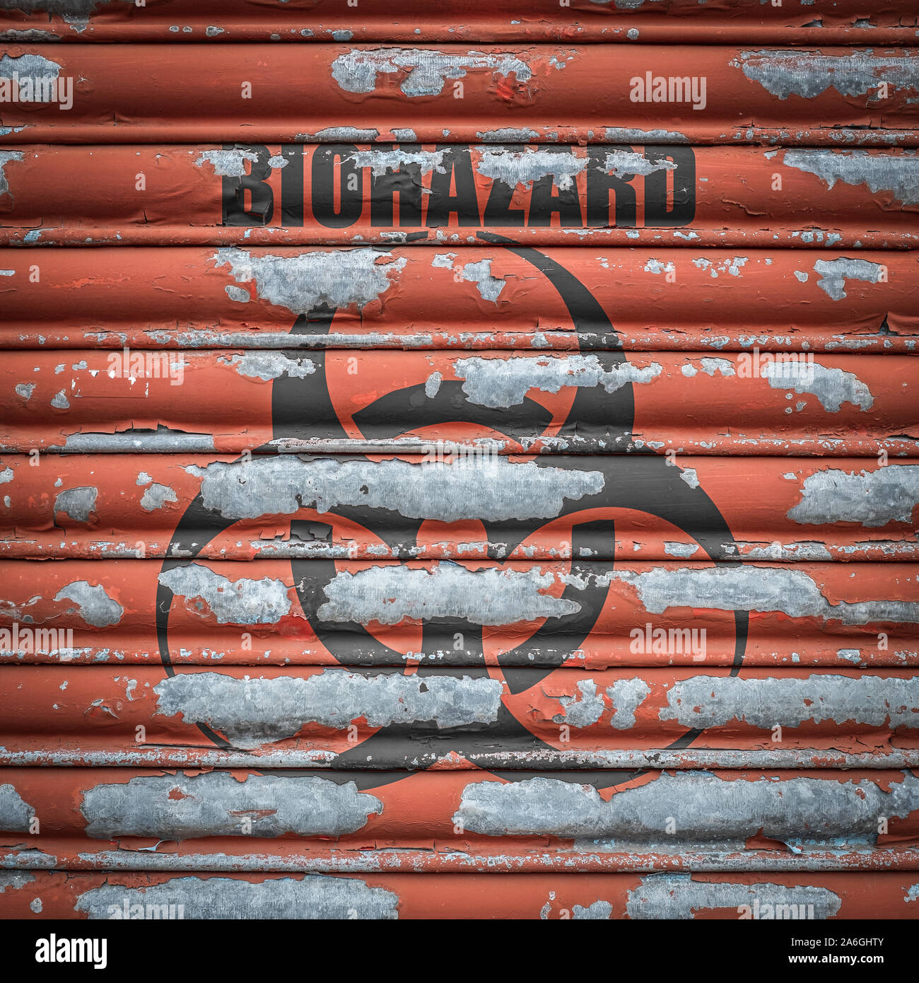 Grungy Metal Shutters With A Scary Biohazard Sign At A Laboratory Stock Photo