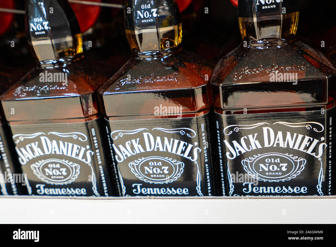 Bottles of Jack Daniels Tennessee Whiskey on sale at Christmas time Stock Photo