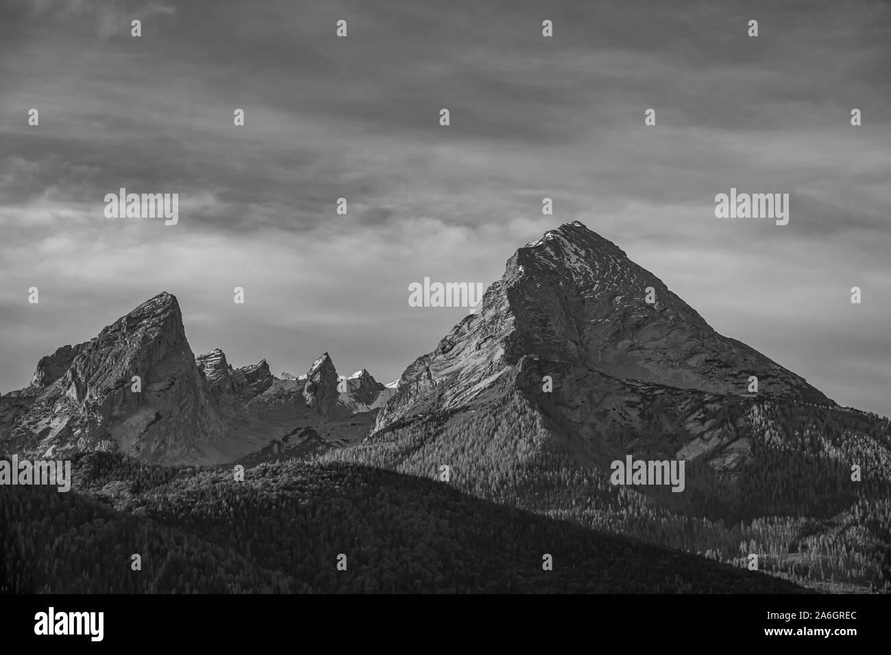 "Black and white mountain peak ""Watzmann"" in Bayern - Germany Stock Photo"