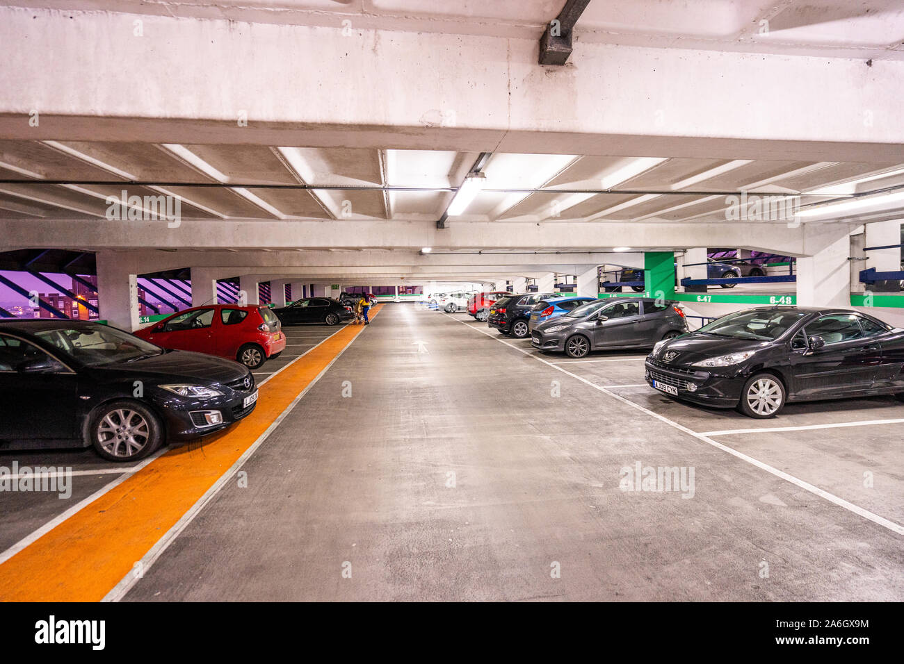The multi storey car park, parking garage for the Intu Potteries Shopping Centre, Precinct, mall in the city centre Stock Photo