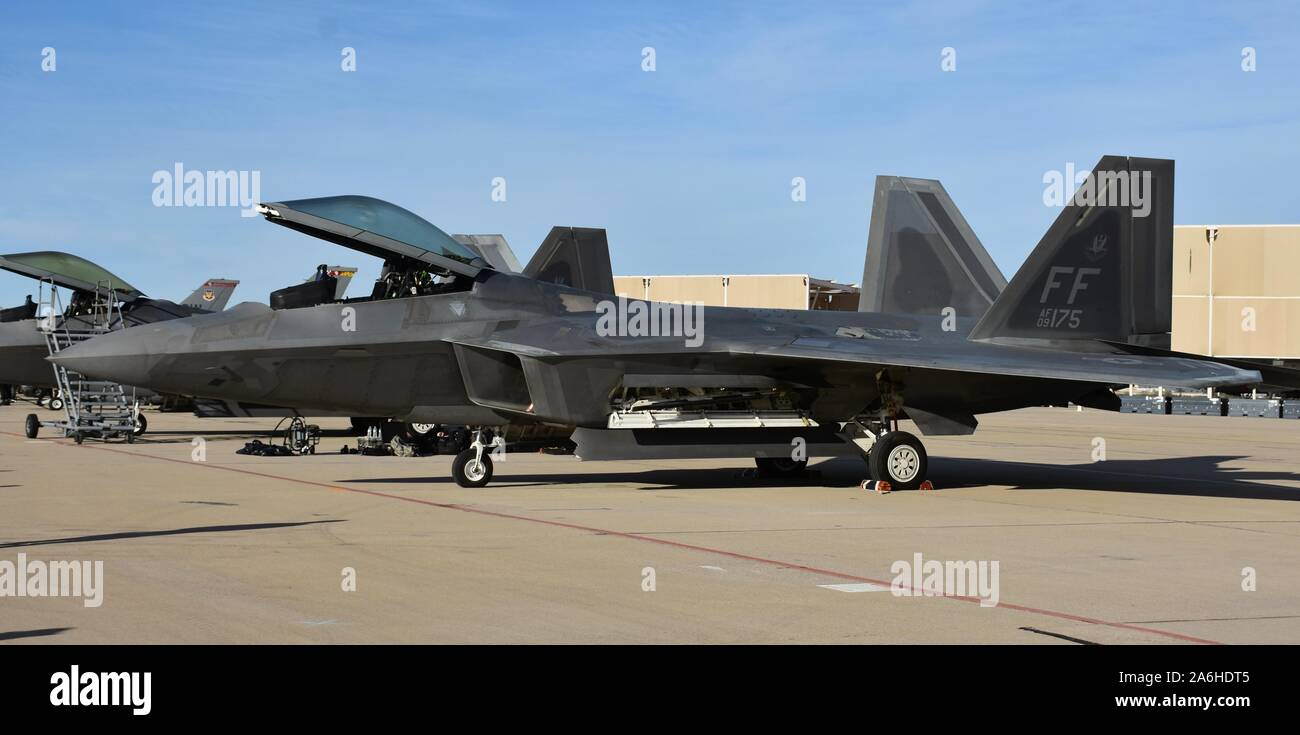 Tucson, USA - March 2, 2018: An Air Force F-22 Raptor fighter jet with the canopy up at Davis-Monthan Air Force Base. Stock Photo