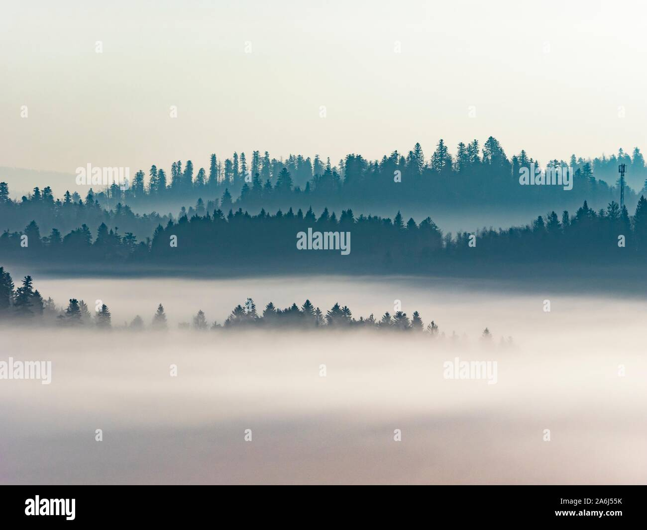 Morning landscape distant fog Stock Photo