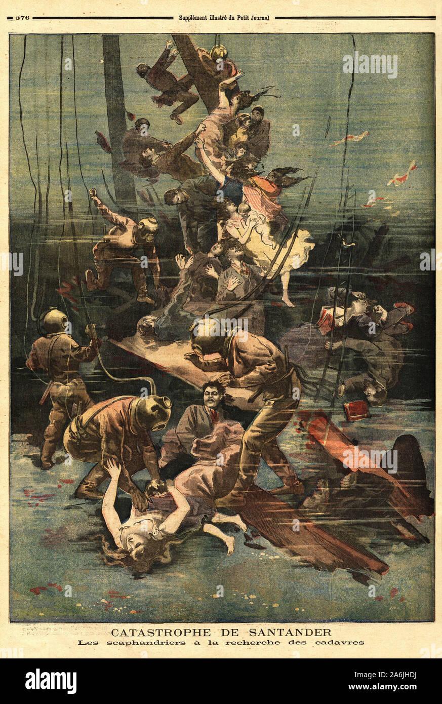 Les scaphandriers a la recherche des cadavres des navires cabo machichaco et Alphonse III, qui ont explose dans le port de Santander (Espagne). Gravur Stock Photo