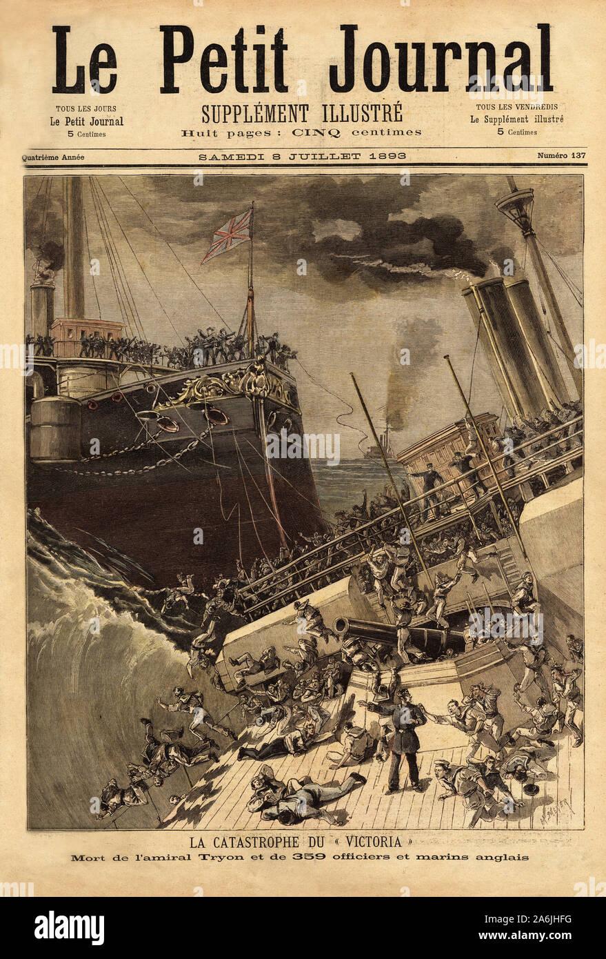 """Le cuirasse Victoria coule au large des cotes syriennes, eperonne par le navire Camperdown.  Gravure in """"Le petit journal"""" 8/07/1893. Collection de . Stock Photo"""