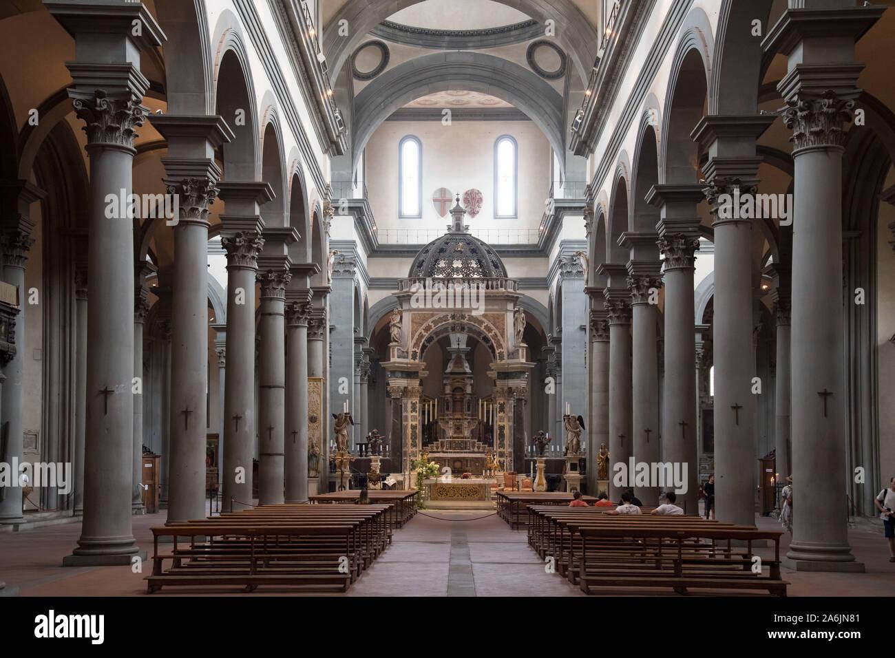 Renaissance Basilica di Santo Spirito (Basilica of the Holy Spirit) built in XV designed by Filippo Brunelleschi in Historic Centre of Florence listed Stock Photo