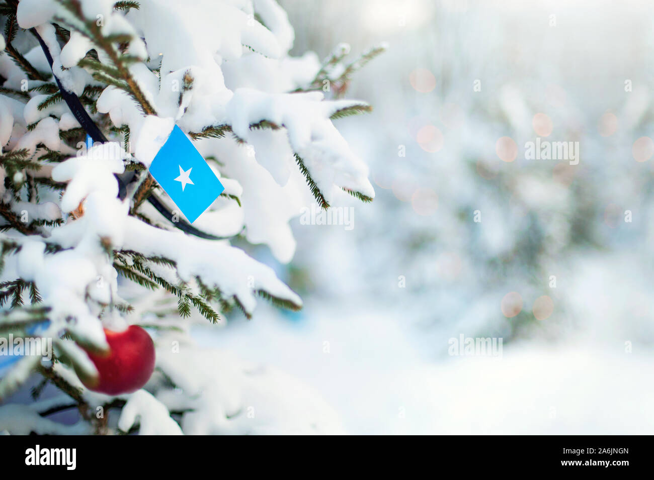Christmas Somalia. Xmas tree covered with snow, decorations and a flag. Snowy forest background in winter. Christmas greeting card. Stock Photo