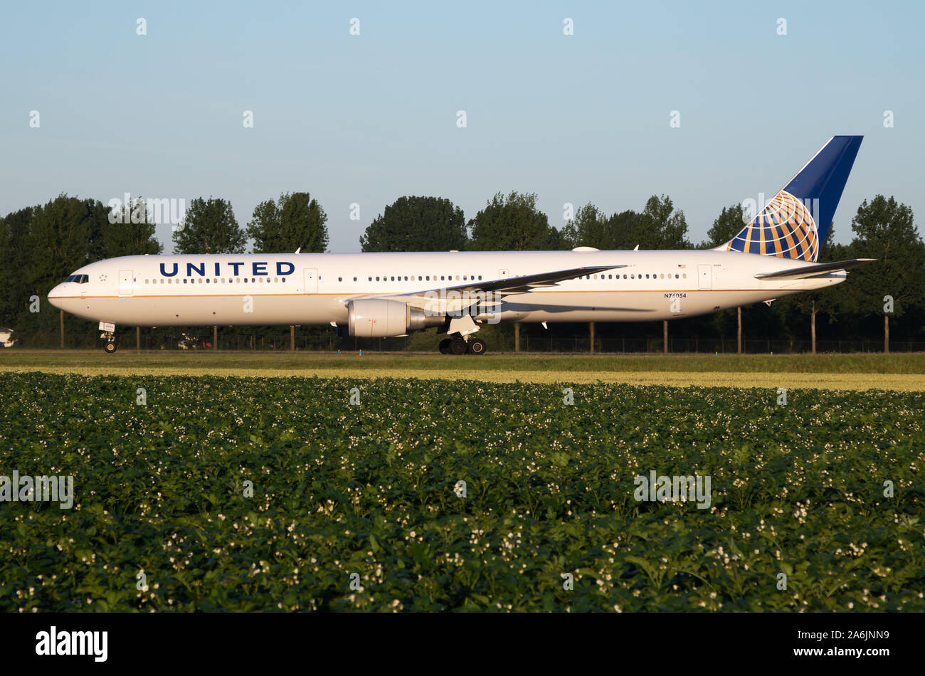 Amsterdam / Netherlands - July 3, 2017: United Airlines Boeing 767-400 N76054 passenger plane taxiing at Amsterdam Schipol Airport Stock Photo