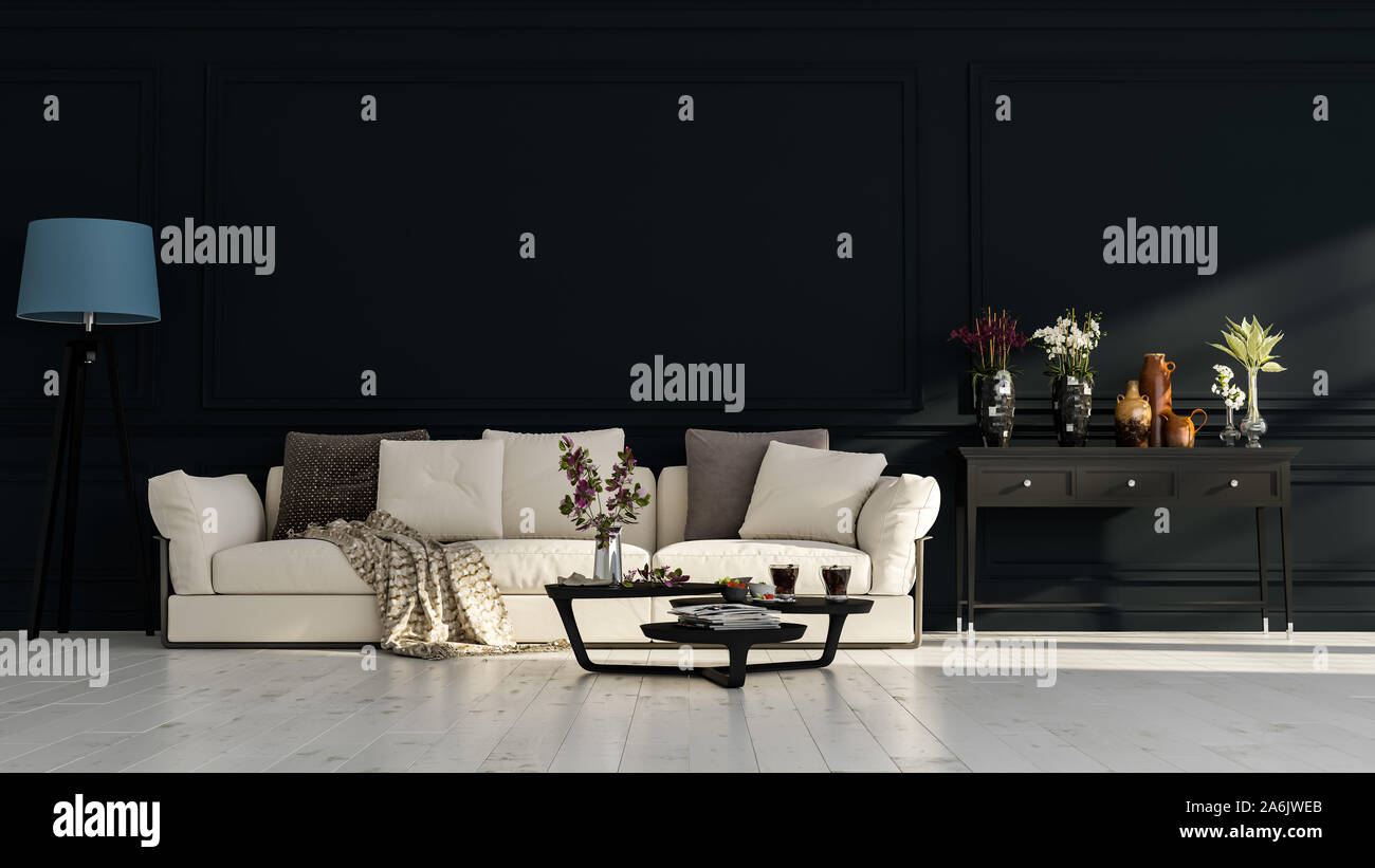 Modern Interior Design Of A Living Room In An Apartment House Office Comfortable Sofa Fresh Flowers And Bright Modern Interior Details On A Dark W Stock Photo Alamy