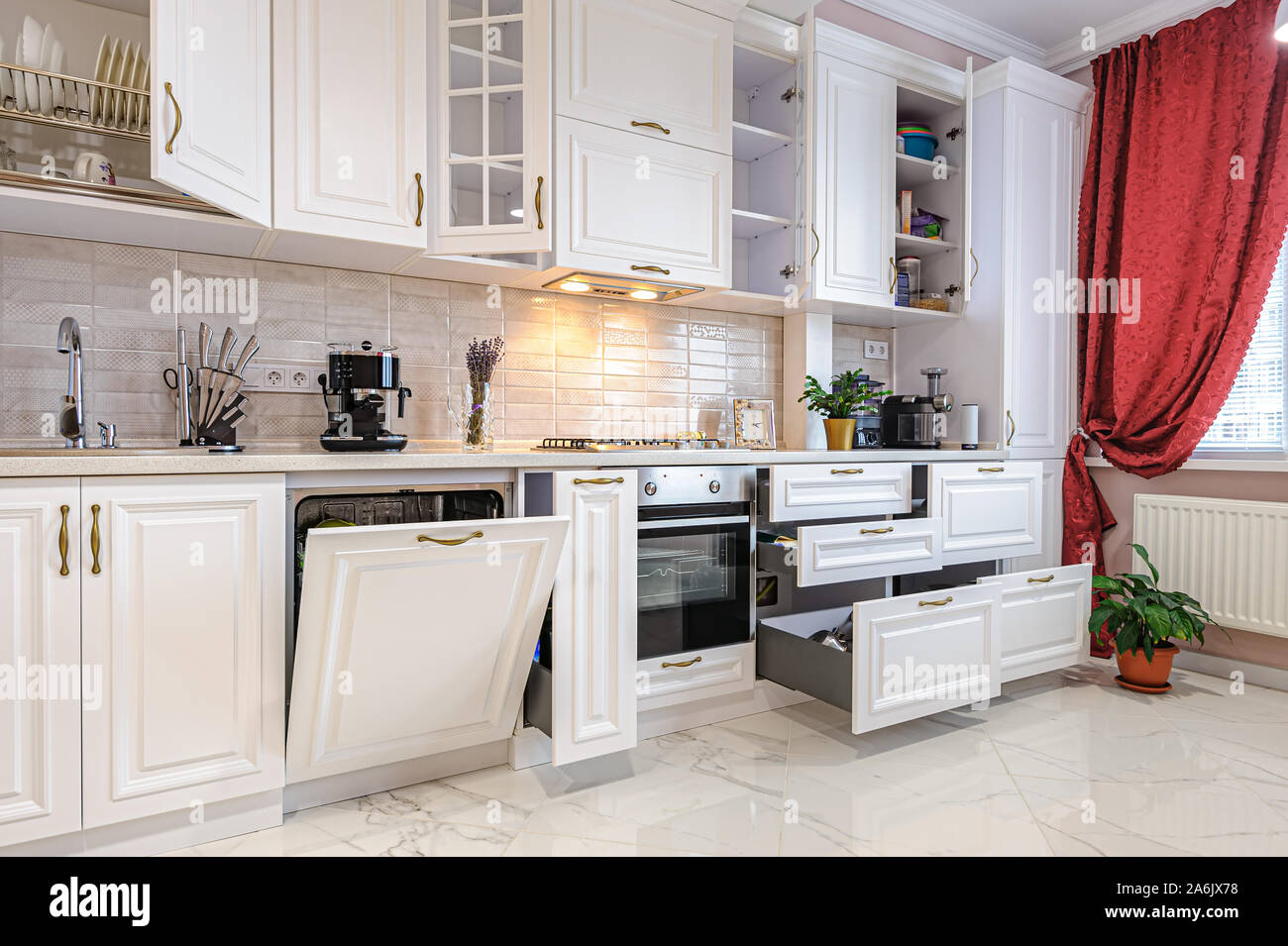 Luxury Modern White Kitchen Interior With Open Doors And