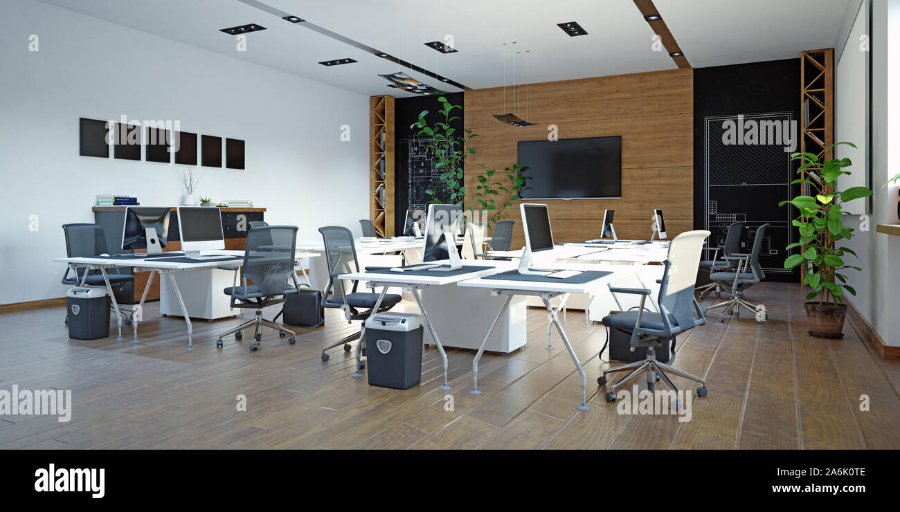 Modern Office Interior Design Concept 3d Rendering Design Stock Photo Alamy