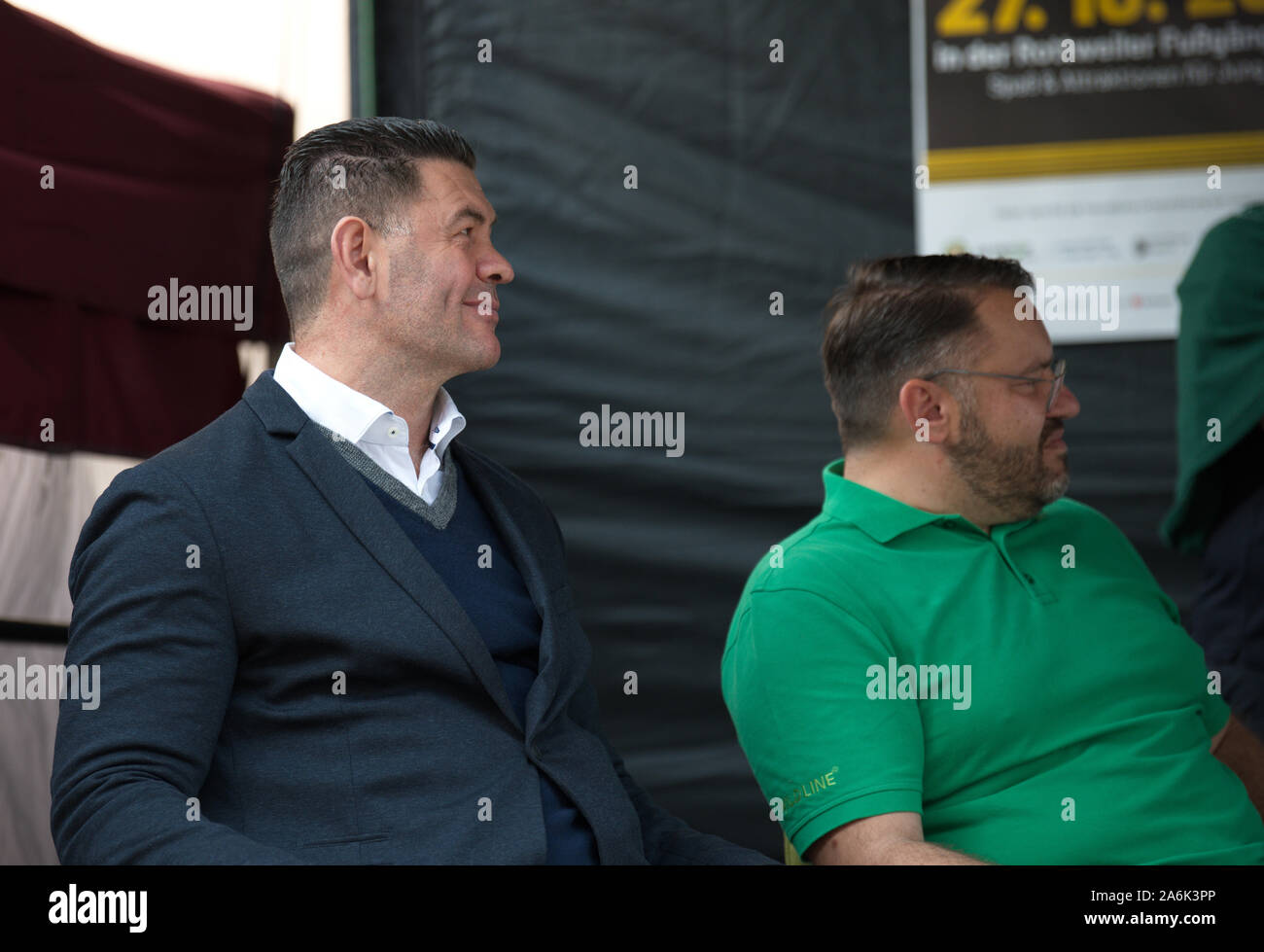 Rottweil Germany 27th Oct 2019 Luan Krasniqi L Former German Boxer And Stefan Walliser Owner Of