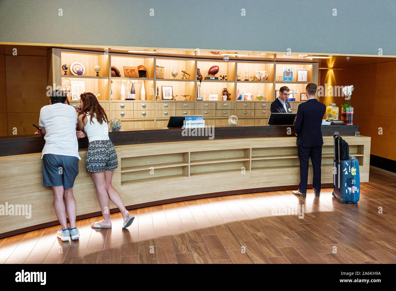 Barcelona Spain Catalonia Catalunya El Poblenou Avinguda Diagonal Four Points by Sheraton hotel front desk counter agent lobby guest check-in inside m Stock Photo