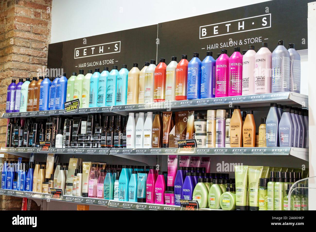 Barcelona Spain Catalonia Catalunya El Poblenou Rambla del Poblenou Beth's Hair Salon Store hair care products display sale Redken brand shopping Span Stock Photo