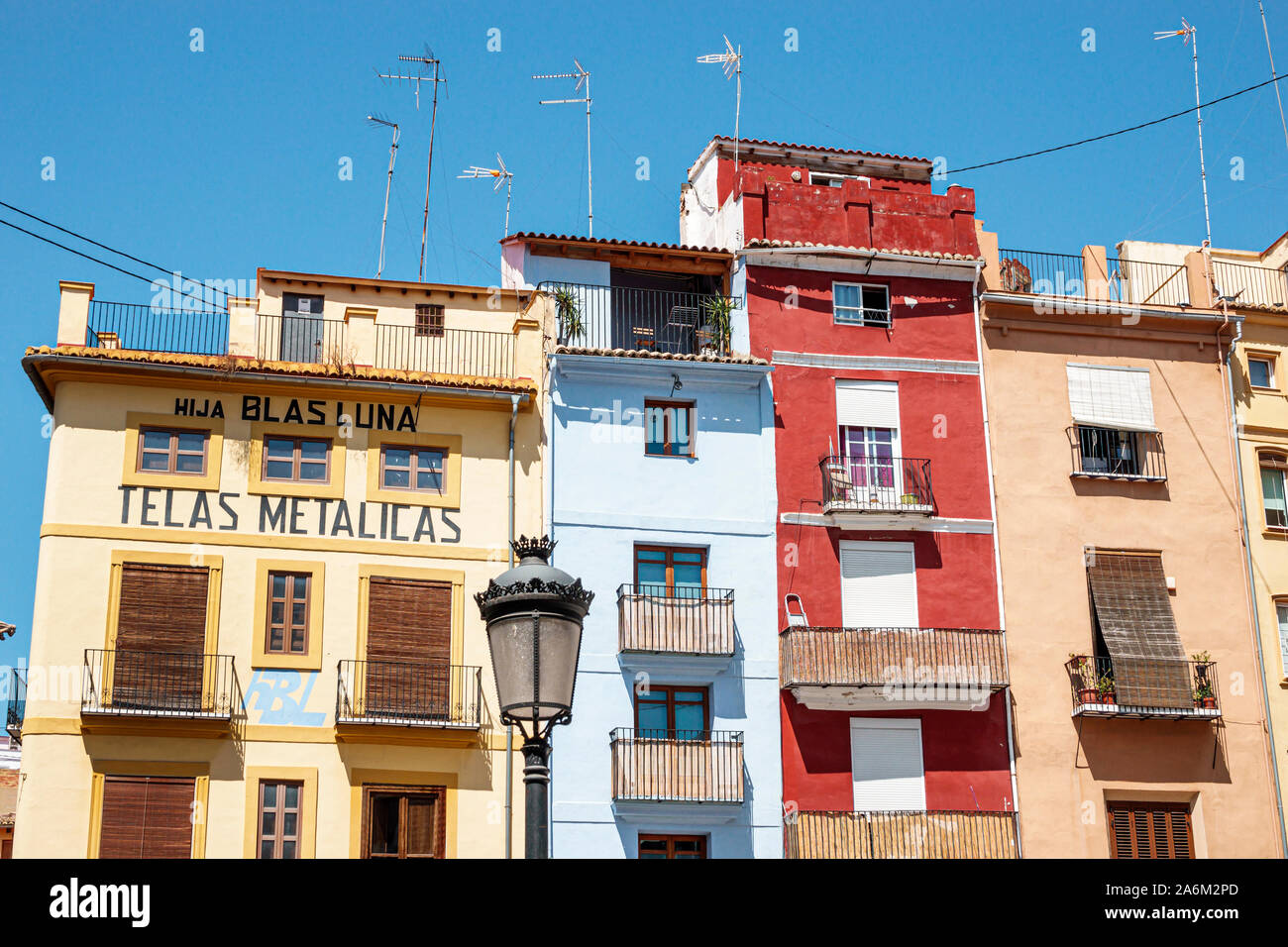 Valencia Spain Hispanic,Ciutat Vella,old city,historic center,Plaza del Dr. Doctor Collado,square,buildings,apartments residences,balconies,facades,la Stock Photo