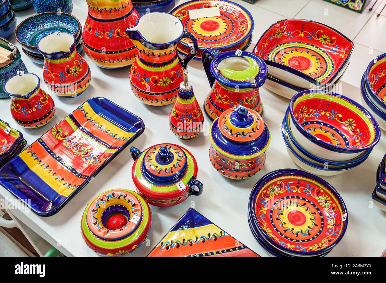 Valencia Spain Hispanic,Ciutat Vella,old city,historic center,Plaza Miracle del Mocadoret,Artesania Yuste,stores,shopping,display sale,handicrafts,art Stock Photo