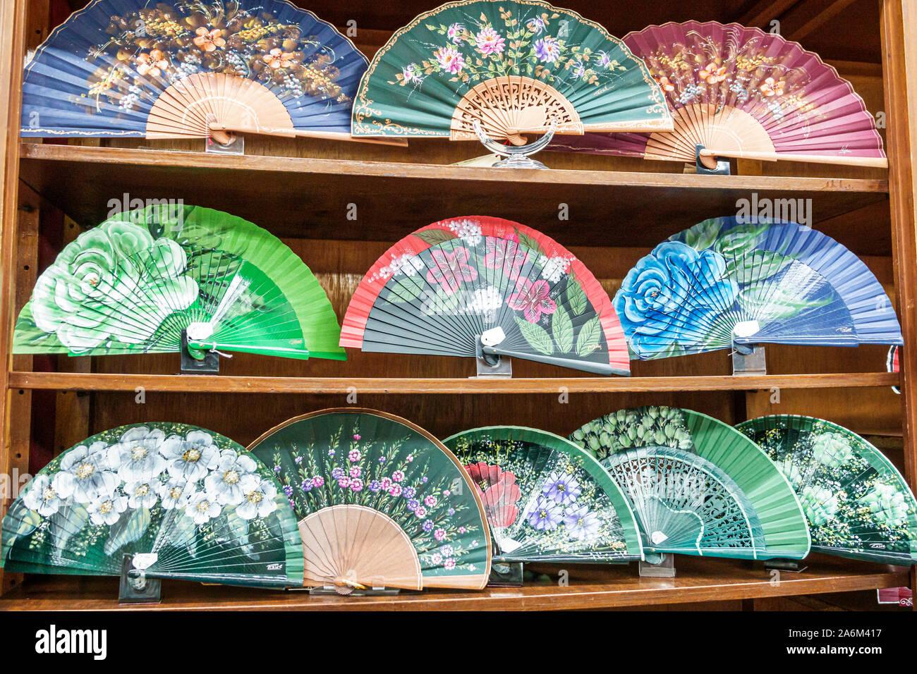 Valencia Spain Hispanic,Ciutat Vella,old city,historic center,Plaza de la Reina,store,souvenirs,artisanal gifts,hand fans,painted,display sale shelves Stock Photo