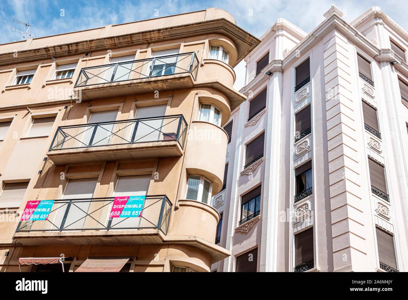 Valencia Spain Hispanic,Ciutat Vella,old city,historic center,apartment buildings,available rental,sign,balcony,ES190829017 Stock Photo