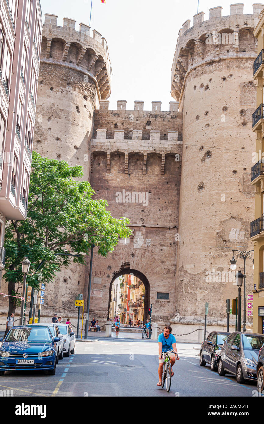 Spain,Valencia,Ciutat Vella,old city,historic district,Torres de Quart,Gothic style defensive towers,1400s,Medieval city wall,historical landmark,arch Stock Photo