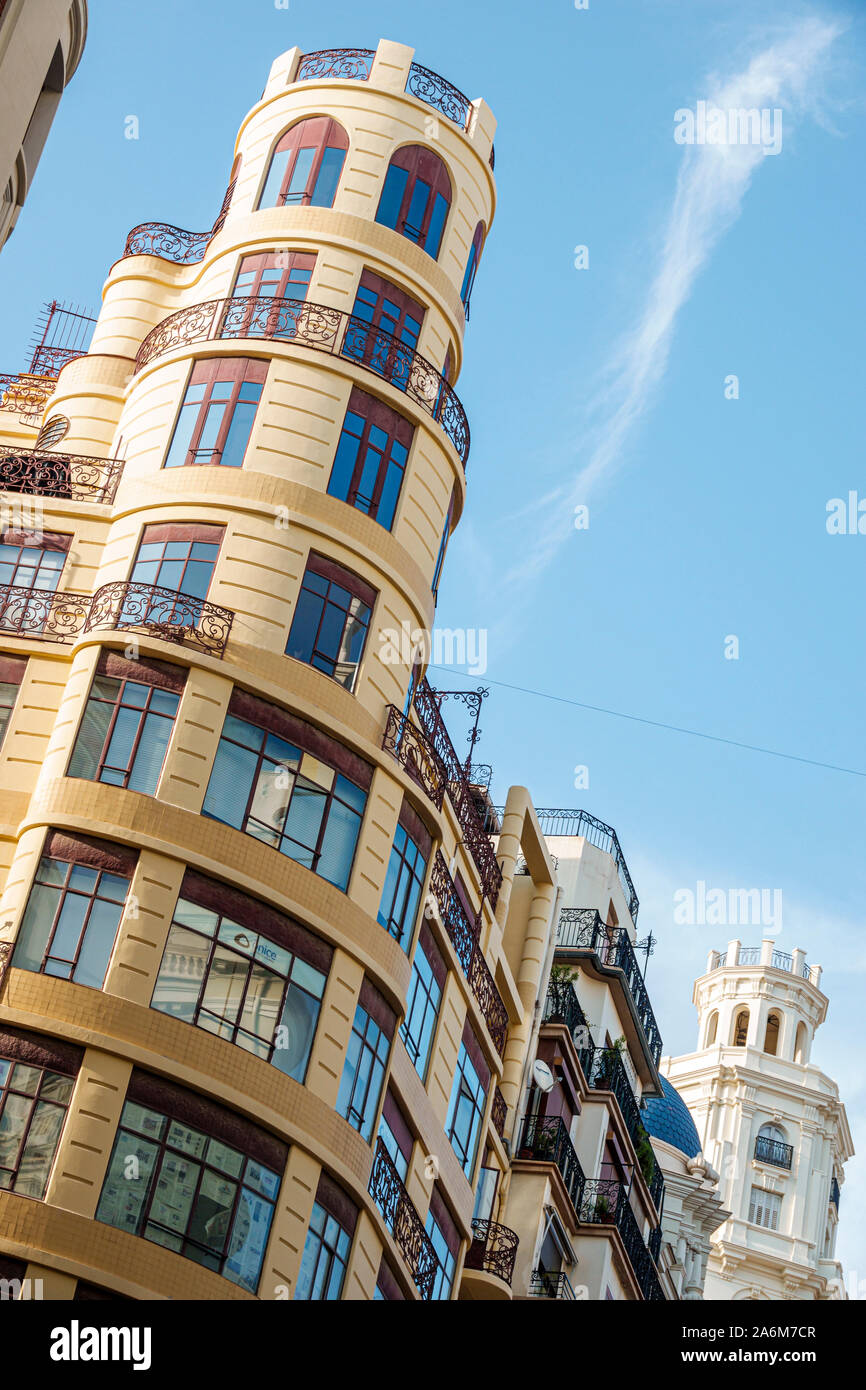 Spain,Valencia,Ciutat Vella,old city,historic district,Carrer de Sant Vicent Martir,high rise building,residential apartments,round tower,ES190830134 Stock Photo