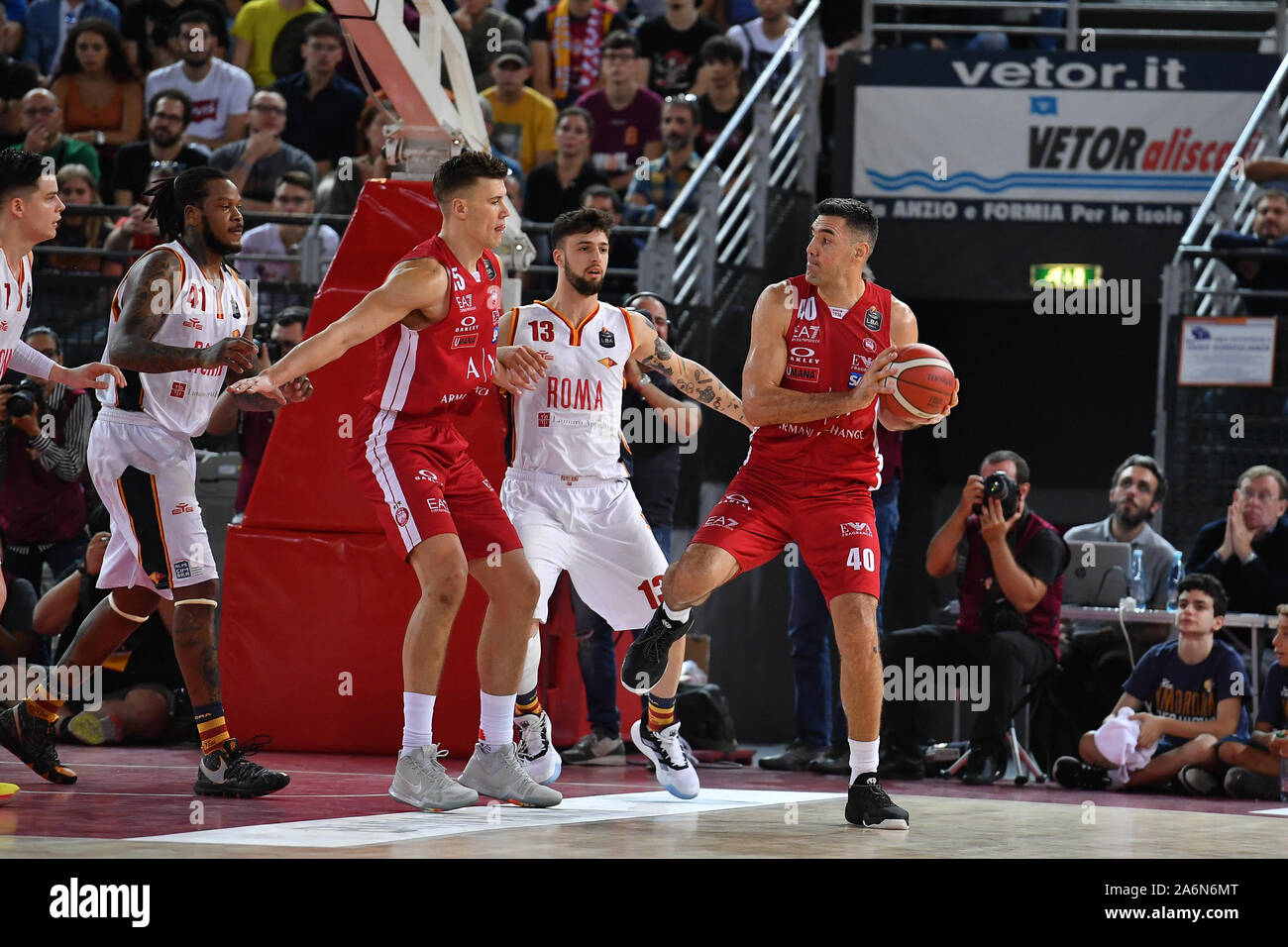 Rome, Italy. 27th Oct, 2019. It is a Virtus Roma that comes out to the top of the applause of the 7591 of the Palazzo dello Sport of the Eur, defeated only in the final by the favored Olimpia Milano for 73. Although still without Roller and with Dyson and Jefferson struggling with problems of fouls, the Virtus plays at par, fight and sometimes even amuses the wonderful public who rushed to the Eur today. (Photo by Domenico Cippitelli/Pacific Press) Credit: Pacific Press Agency/Alamy Live News Stock Photo