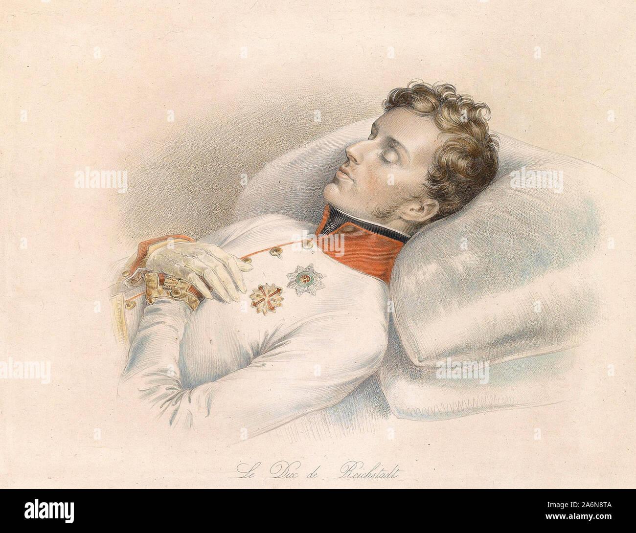 The Duke of Reichstadt (Napoleon II, 1832) on the deathbed - Franz Xaver Stober Stock Photo