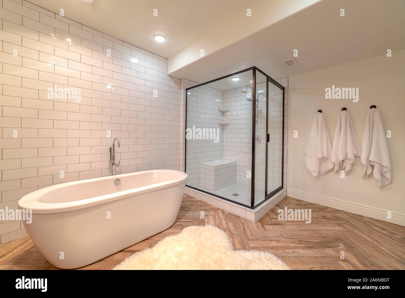 Picture of: Contemporary Bathroom With Free Standing Bath Tub Stock Photo Alamy