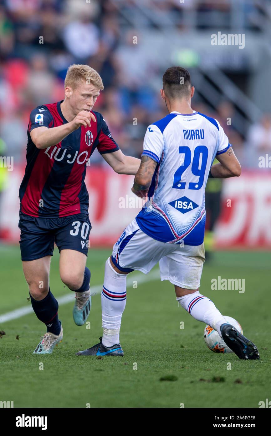 "Bologna, Italy. 27th Oct, 2019. Jerdy Schouten (Bologna) Nicola Murru (Sampdoria) during the Italian ""Serie A"" match between Bologna 2-1 Sampdoria at Renato Dall Ara Stadium on October 27, 2019 in Bologna, Italy. Credit: Aflo Co. Ltd./Alamy Live News Stock Photo"