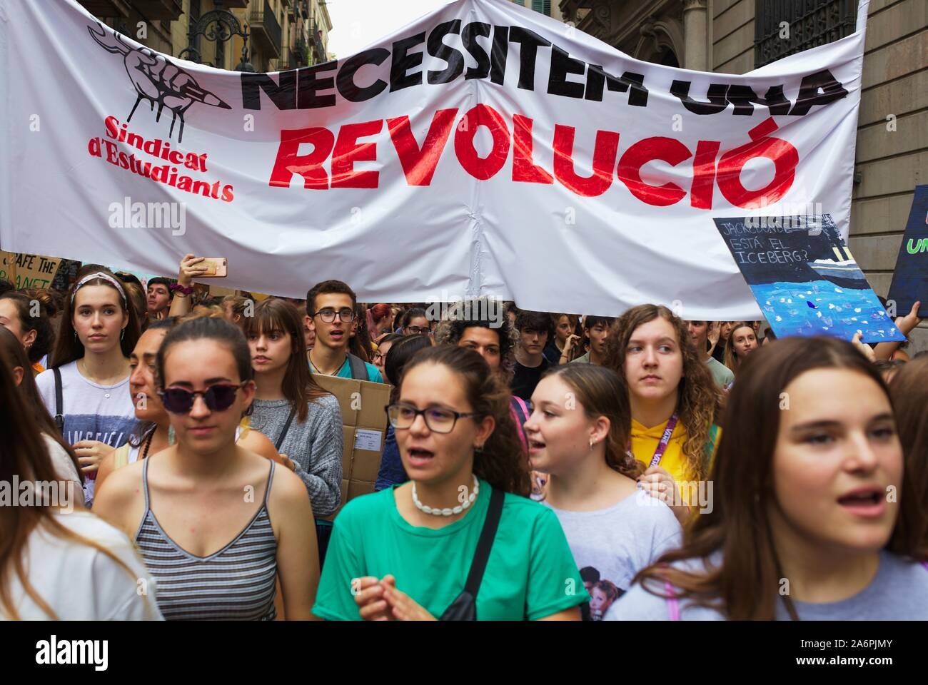 Barcelona, Fridays for future demonstration, Signs and People Stock Photo