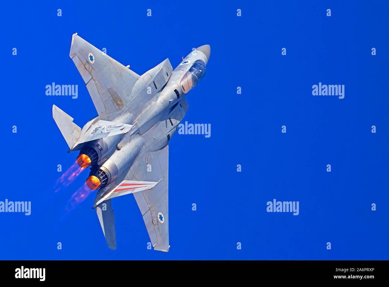 Israeli Air force (IAF) F-15C (Baz) Fighter jet in flight Stock Photo