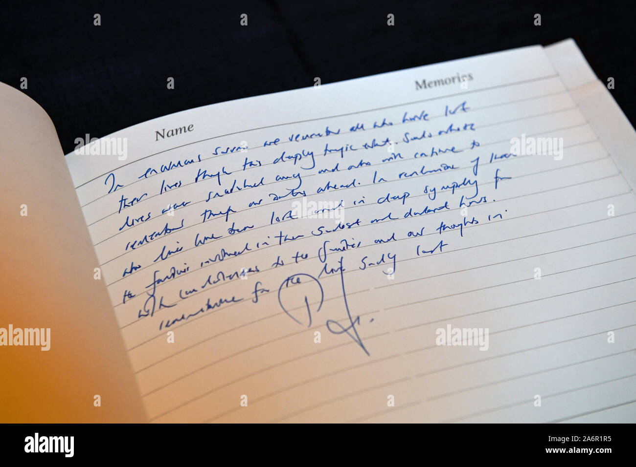 A message left by Home Secretary Priti Patel in the book of condolence during a visit to Thurrock Council Offices in Essex after the bodies of 39 people were found in a lorry container last week. Stock Photo