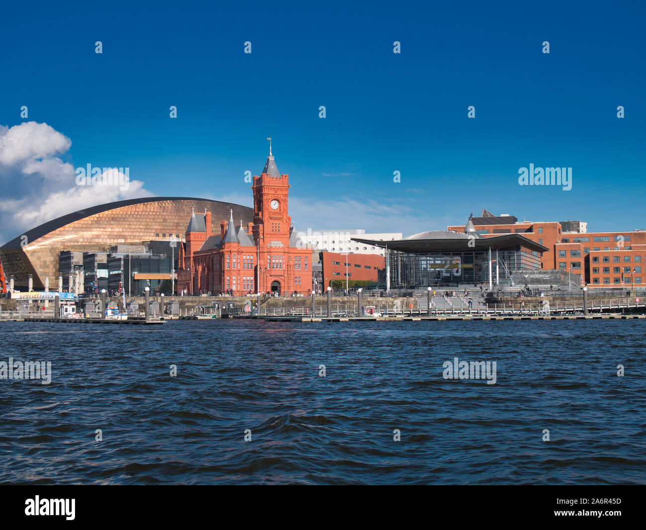 A panoramic view across Cardiff Bay in Wales, UK, on a sunny day in Autumn Stock Photo