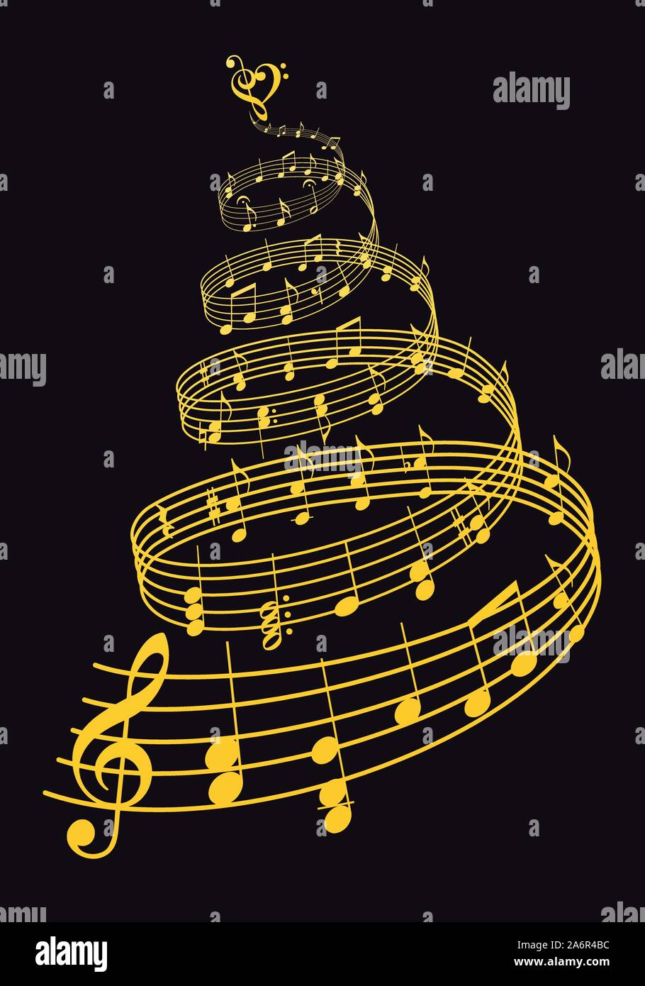 Gold Christmas tree with music notes over black background, vector illustration Stock Vector