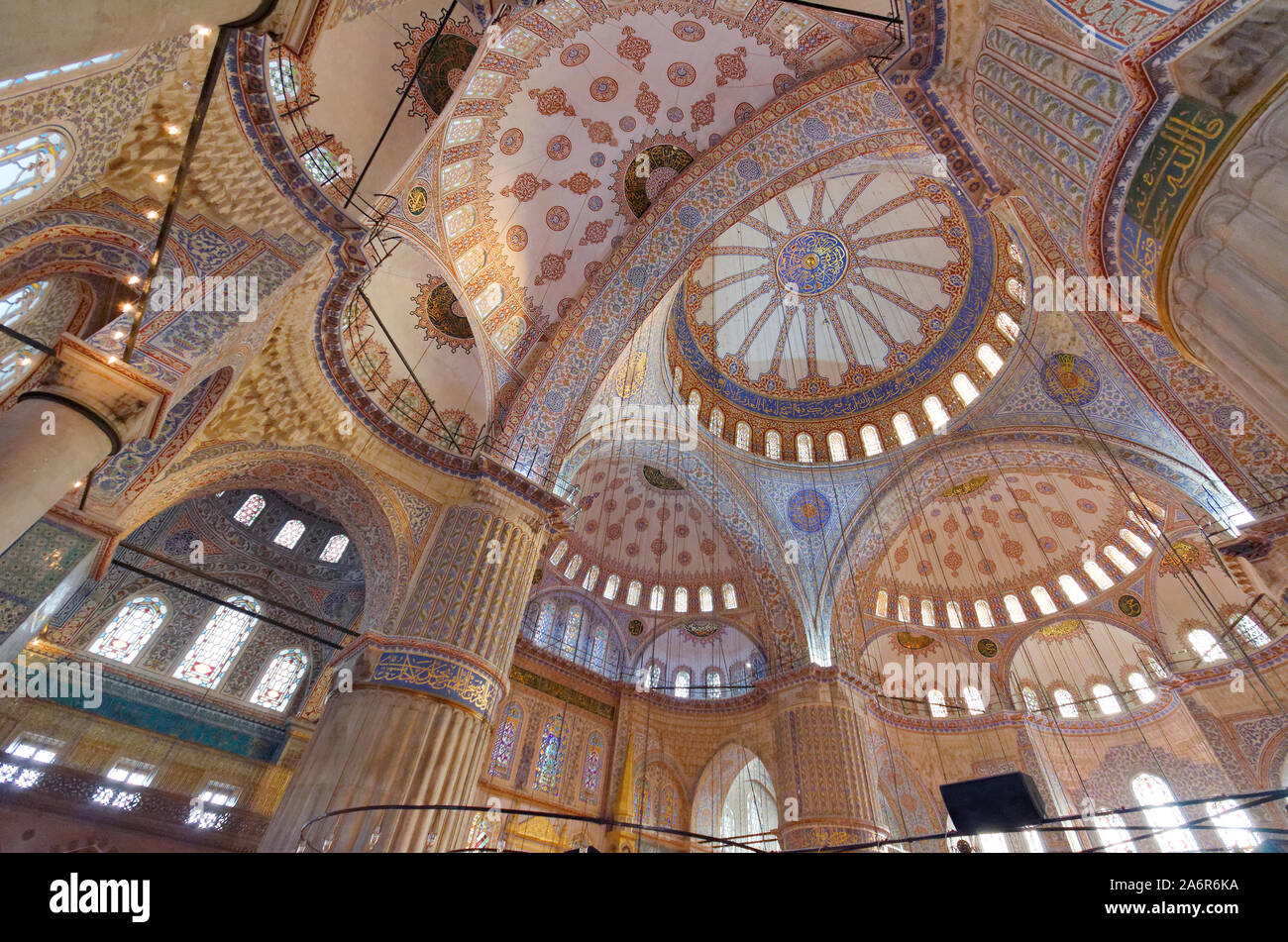 Interior of the Blue Mosque, Istanbul, Turkey. Stock Photo