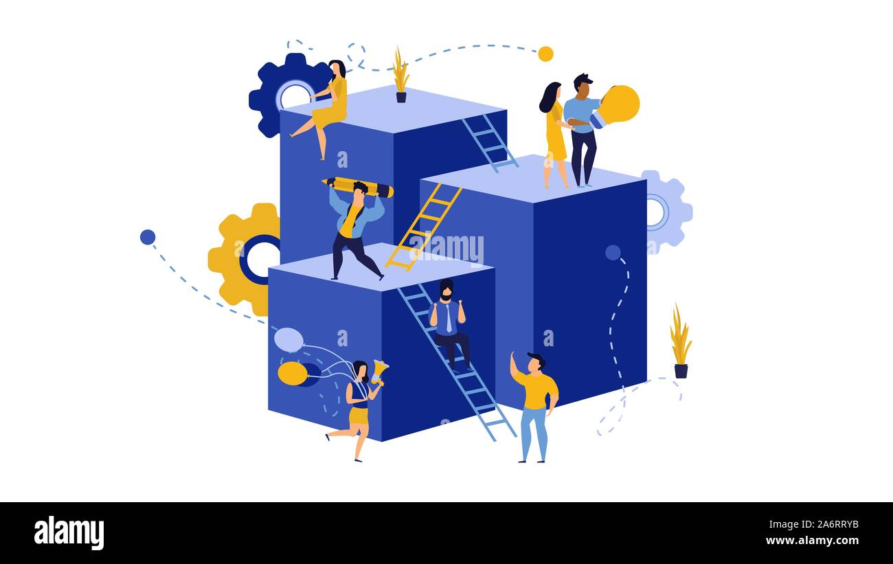 Employee leader building virtual business in action illustration. Career success development grow vector allocation. Future forward teamwork character Stock Vector