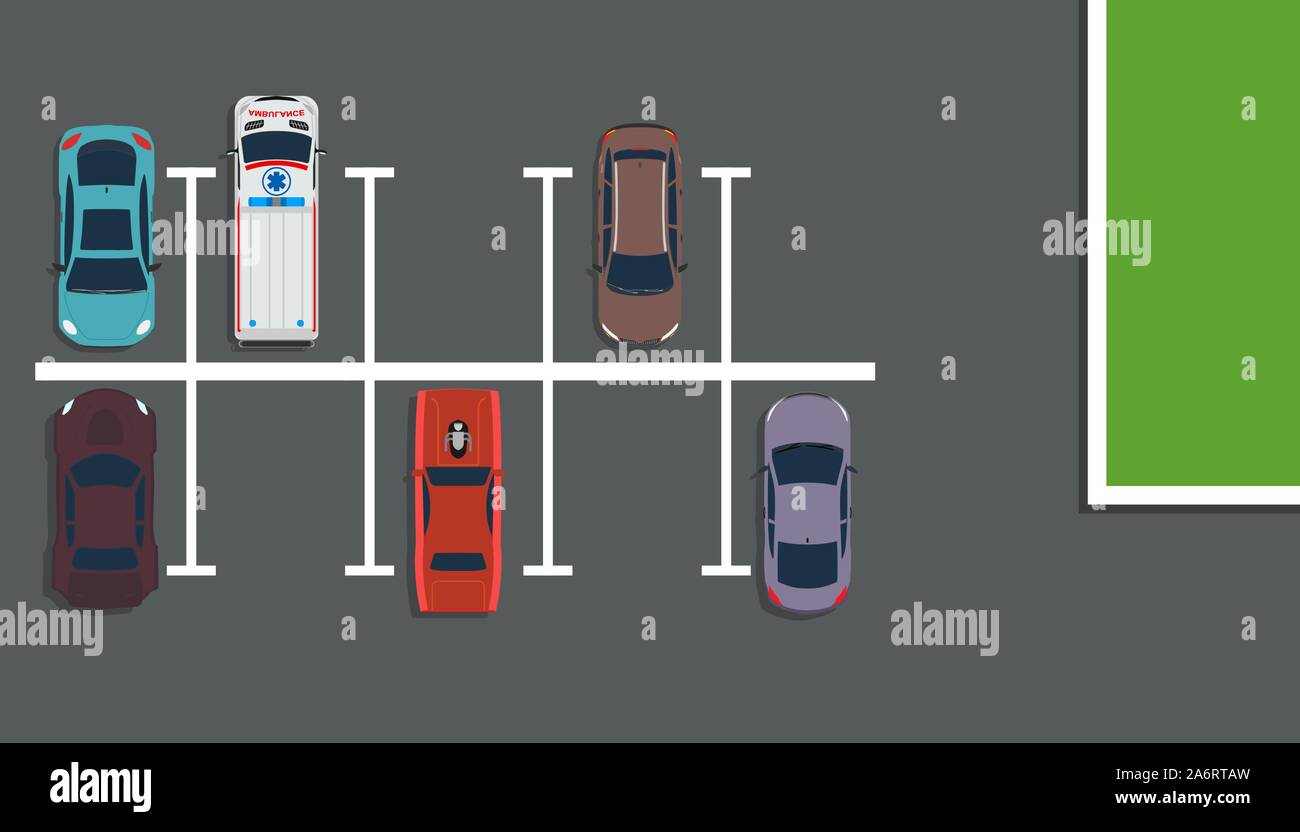 Park Top View Vector Concept Illustration Background Above Car Street Map Flat Road City Garage Design Many Lot Space Downtown Vehicle Free Slot Tr Stock Vector Image Art Alamy