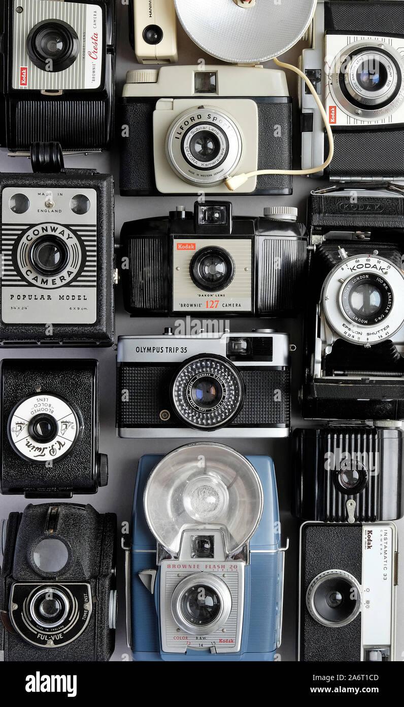 selection of vintage retro cameras Stock Photo