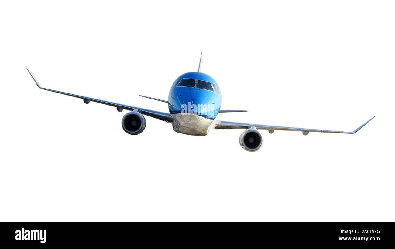 Front view of a generic modern passenger airplane isolated on a white background. Stock Photo