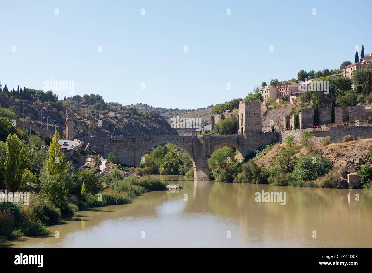 The Puente de Alcántara over the Tagus River in Toledo in Spain Stock Photo