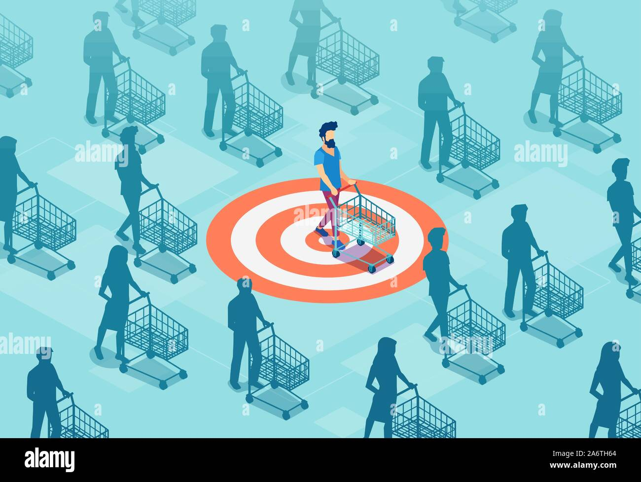 Target sales and marketing accuracy concept. Vector of a targeted customer with a shopping cart Stock Vector