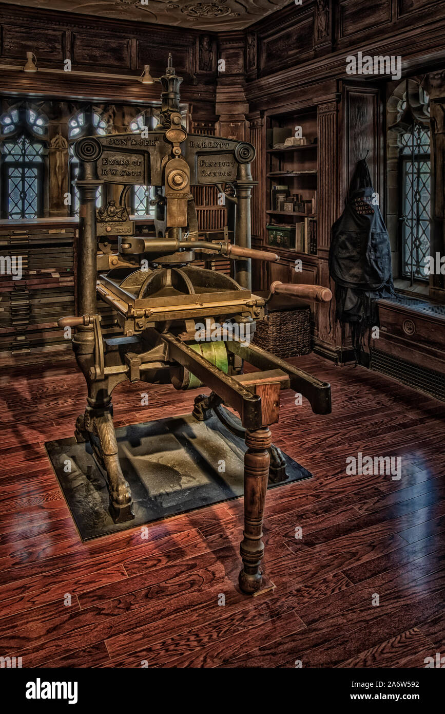 Bibliographical Press -  View to an Albion hand press, built in England in the 1800s. Stock Photo