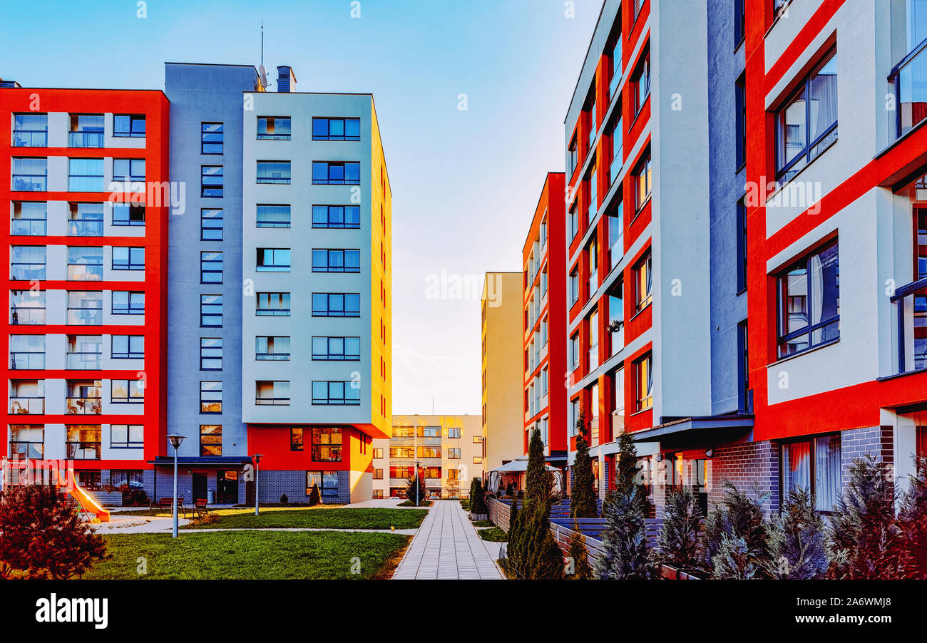 Modern Residential Apartments Flats Buildings Exterior And Outdoor Facilities Stock Photo Alamy