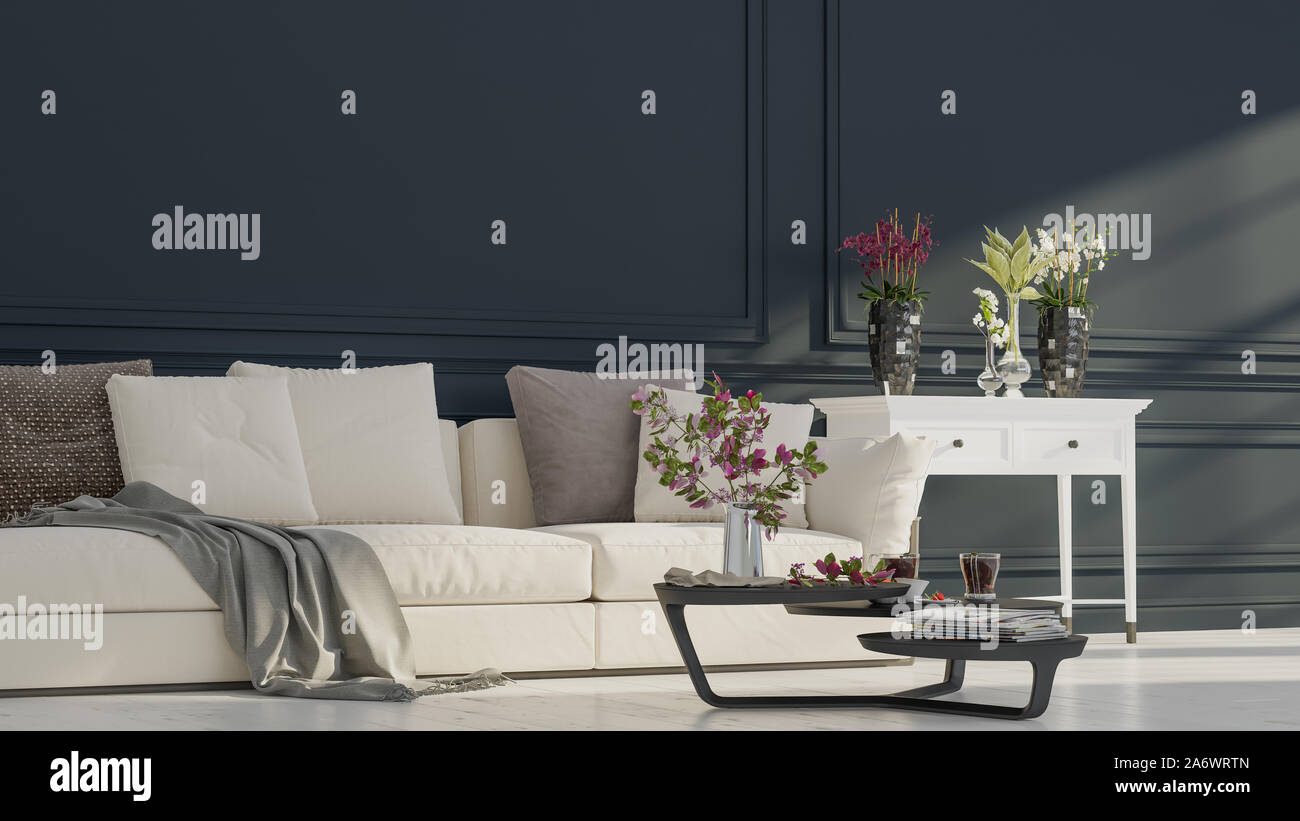 Modern interior design of a living room in an apartment, house, office, comfortable sofa, fresh flowers and bright modern interior details on a dark w Stock Photo
